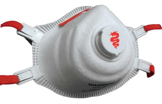 A disposable Warrior MMR3V FFP3 NR mask
