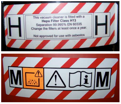 H and M Class labels on a vacuum