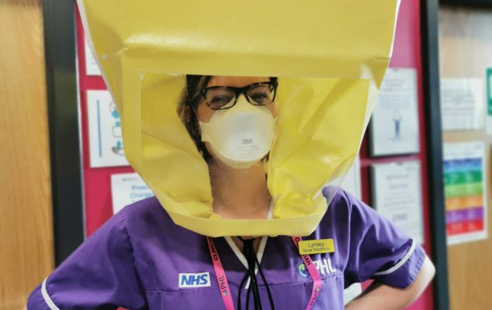 NHS staff member being face fit tested